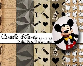 Classic Disney Theme 8.5x11 Digital Paper Backgrounds for Digital Scrapbooking -INSTANT DOWNLOAD -
