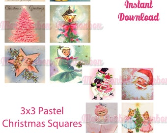 Digital Collage Sheet of Vintage Retro Pastel Christmas Cards 3x3 inch squares - DIY Printable - INSTANT DOWNLOAD