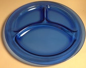 Vintage 1930s L E Smith Blue Depression Glass Divided Grill Plate - set of 2