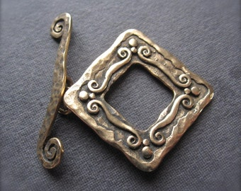 Bronze - Grecian Swirl Artisan Square Toggle Clasp - 20mm