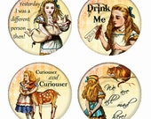 Alice in Wonderland Magnets or Pinback Buttons or Flatback Medallions Set of 4