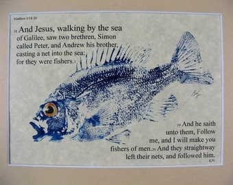 Fishers of men Bible Passage Art... 8X10 Original Cottage Decon Minister Priest Gift GYOTAKU Fish Art Rubbing matted