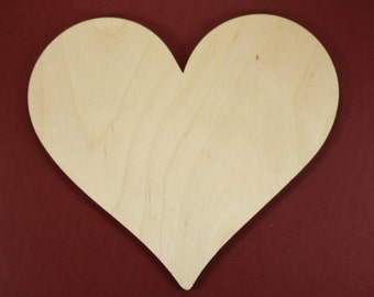 Classic Heart Shape Unfinished Wood Laser Cut Shapes Crafts Variety of Sizes