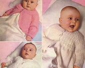 Vintage Baby Coats, Raglan Matinee Coat, Coat with Round Yoke, Moss Stitch Coat, Knittiung Pattern, 1960 (PDF) Pattern, Patons 6004