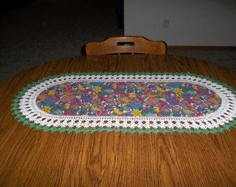 Crocheted, Easter, Eggs, Baskets, Table Runner, Fabric Center, Crocheted Edge, Centerpiece, Handcrafted, Dresser Scarf