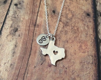 Texas initial necklace - Texas charm necklace, state jewelry, state necklace, Texas jewelry, US state jewelry, silver Texas necklace
