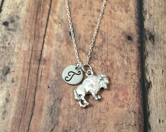 Buffalo initial necklace - buffalo jewelry, bison necklace, silver buffalo necklace, bison jewelry, Wyoming necklace, New York necklace