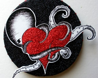 OCTOPUS WITH HEART (Black) // mixed media one-of-a-kind art piece