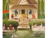 June Everheart's Splendid Summer Home.  Original Oil Painting.