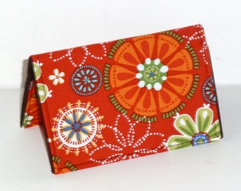 Business Card Case - Business Card Holder - Credit Card Case - Gift Card Holder - Checkbook Cover - Orange - Floral