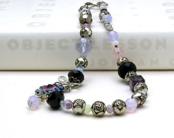 Lavender Flower Boho Beaded Necklace Purple Retro Antique Silver Urban Cool Eclectic Edgy
