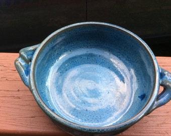 BLUE casserole, ceramic, pottery, baking,serving, handmade, ready to ship B54