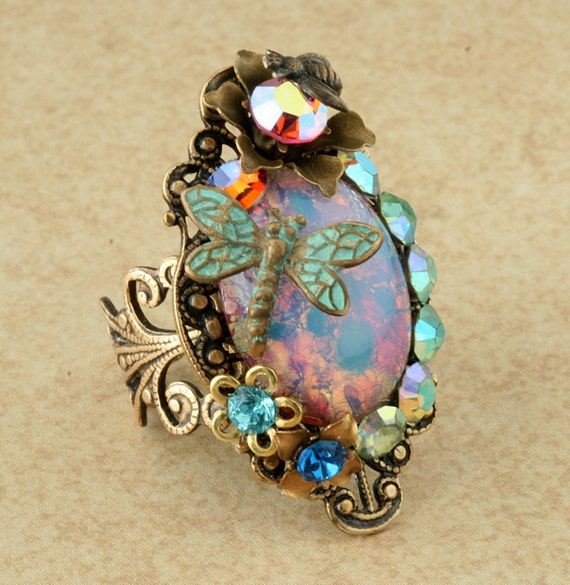 Opal Ring Pink Opal Ring Pink Harlequin Opal Ring Opal Cocktail Ring Dragonfly Ring Opal Rhinestone Ring Flower Bee Brass Filigree Ring