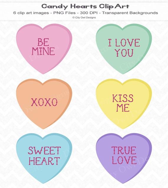 Candy Hearts Clip Art Digital Scrapbooking Instant Download
