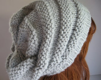 Slouchy Knit Hat,  Knit Chunky Hat, Beehive Slouchy Hat - Silver Gray