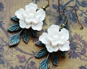White Cherry Blossom Floral Earrings, White Flower Earrings, Sakura Earrings, Green Patina Earrings, JewelryFineAndDandy, Asian Flower SRAJD