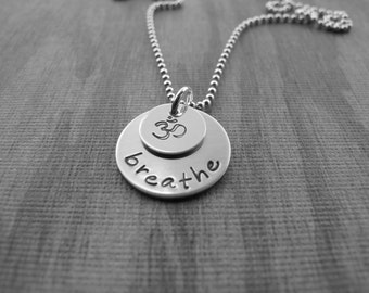 Jewelry Breathe Necklace Yoga Necklace Om Yoga Symbol Hand Stamped Jewelry  Ready to ship