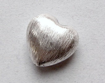 Brushed Matte Bright Sterling Silver Heart Beads 10mm (2 beads)