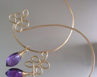 Amethyst Gold Filled Hoop Earrings, Sculptural Hoops, Gemstone Dangles, Modern, Branches, Petals, Purple, Dramatic, Made to Order