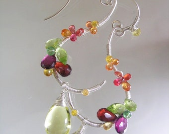 Sterling Silver Gemstone Earrings, Wire Wrapped Vine Dangles, Blossoms, Sculptural Curled Earrings, Sapphires, Peridot, Signature Original