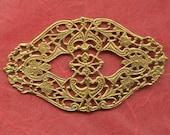 Huge Filigree Brass Finding, Vintage Victorian Revival, 62 by 36 Millimeters (2)