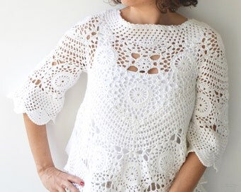 White Crochet Sweater by Afra