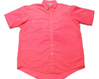 Vintage 90s Pink Short Sleeve Button Down Shirt Mens Size Large