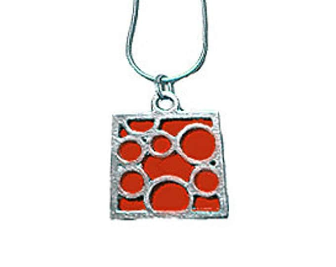 Medium Square Red Bubble pendant