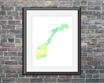 Norway watercolor - typography map art print 5x7 - french country poster wedding engagement graduation gift anniversary wall art decor