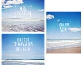 Beach typography photo set, bright blue set of 3 beach photos, summer sky, white clouds, ocean photography, inspirational beach prints