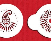 """Mehndi Cookie 2"""" Stencil Set for Cookies, Cakes & Cupcakes - Designer Stencils (C395) face painting"""