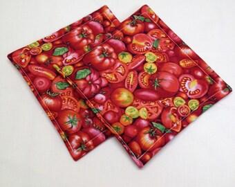 Tomato Print Potholders set of 2