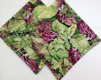 Lettuce  Print Potholders Set of 2