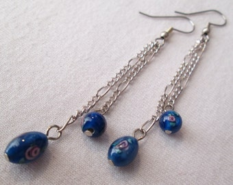 Blue Floral Glass and Chain Earrings