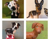 Customize your dogs-FOUR paper clay dog sculptures on wooden letter blocks