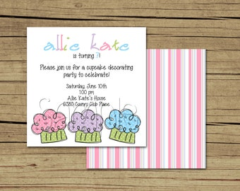 25 5x5 Cupcake Birthday Party Invitations