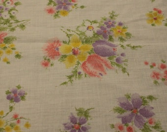 Vintage 1970s Pink Purple Yellow Floral Print Cotton/Poly - 2 Yards - Fabric Yardage /Woven Fabric /Cotton Fabric /1970s Fabric /70s