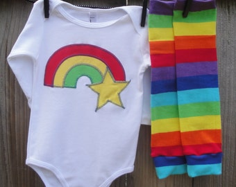 Rainbow Brite Girls Shirt or Baby Bodysuit and Leg Warmer Set - Sizes for Children, Toddlers, Kids - Great Birthday Party, Halloween Costume