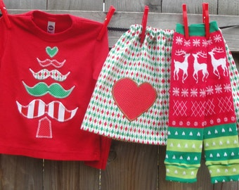 Mustache Christmas Tree Baby Bodysuit or Kids Shirt, Skirt, Leg Warmer Set for Baby, Toddler, Kid - Great Holiday Photo Shoot Outfit or Gift