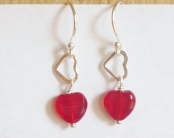 Red heart earrings with sterling silver heart, sterling silver heart earrings,