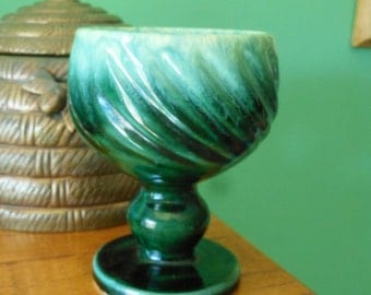 Vintage Hull Pottery Green Drip Goblet