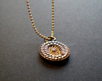 Layered Necklace|Mosaic Pendant|Sparkly Pendant|Chain Mosaic Necklace|Brass Bezel|Hippie Necklace|Boho Jewelry|Gift Idea Girl|Artisan Jewery
