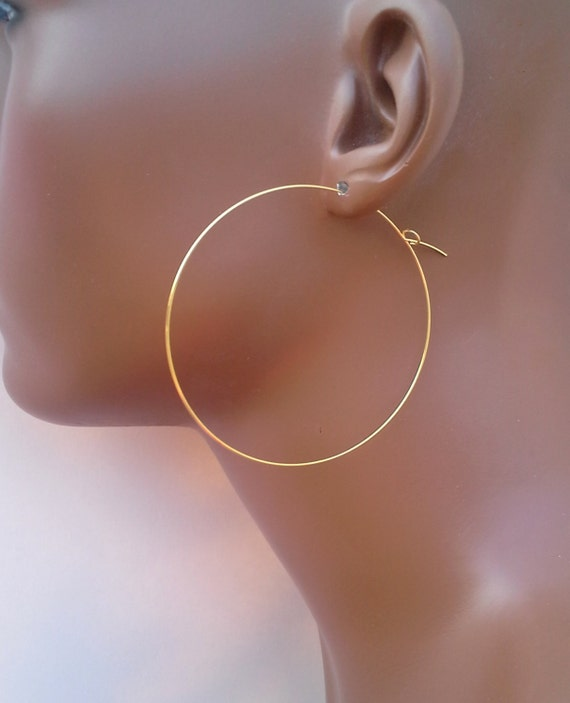 Gold hoop earrings 2 inch, 1.75, 2.25, 2.5 or 3 inch ultra thin lightweight gold plated wire open threader dangle 697