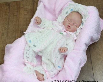 KNITTING PATTERN For Beaded Babe Baby Jacket, Trousers/Pants & Bonnet PDF 101 Digital Download