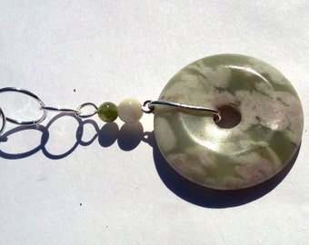 Peace Jasper and jade stitch marker & row counter set