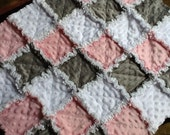 White pink and grey minkee chenille  Sweet and Soft baby girl security rag quilt