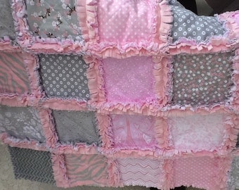 Soft pink and grey  Sweet and Soft baby girl security rag quilt