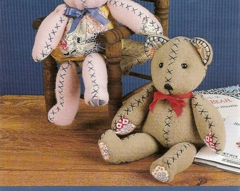 Beany Bunny, Beany Bear, Sewing Pattern, 12 Inch Bunny Bear, Quilted Details,Children's Toy,Decorative,Nursery,Uncut Pattern,Indygo Junction