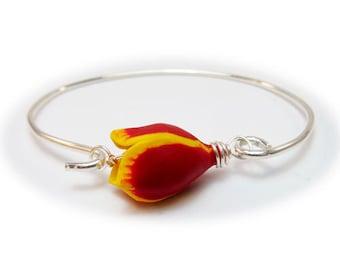 Red Tulip Bracelet Sterling Silver Bangle - Tulip Jewelry, Spring Flower Bracelet Jewelry, Mother Gift Idea
