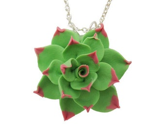 Pink Tipped Succulent Necklace -Light Green Succulent Pendant, Succulent Jewelry, Succulent Charm, Flower Jewelry